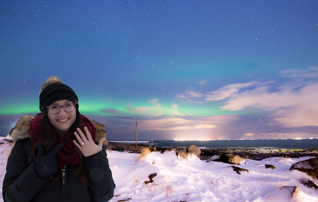 Northern Lights, Engagement Ring, Iceland, Grotta Lighthouse